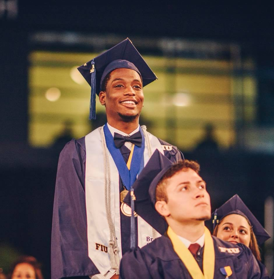Price Destinobles '18 stands to be recognized as a Worlds Ahead Graduate at his December 2018 commencement
